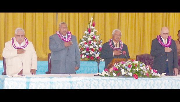 [l-r] Senate President Tuaolo Manaia Fruean, Gov. Lemanu Peleti Palepoi Sialega Mauga, House Speaker Savali Talavou Ale and Chief Justice Michael Kruse