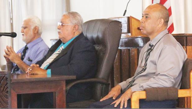 [l-r] ASG Treasurer Ueligitone Tonumaipe'a, Sen. Tuaolo Manaia Fruean, and businessman Tony Togiai