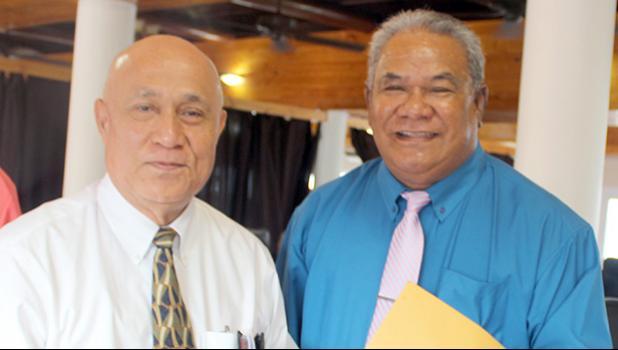 Retirement Fund Office executive director, I'aulualo Fa'afetai Talia (left) and ASG Employees Retirement Fund board of trustees chairman, Vaanatiu Tofala Iafeta