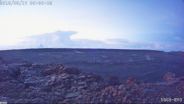 This photo provided by U.S. Geological Survey shows the ash plume at the Kīlauea Volcano, taken from a Mauna Loa webcam on Thursday, May 17, 2018 in Hawaii. The volcano has erupted from its summit, shooting a dusty plume of ash about 30,000 feet into the sky. Mike Poland, a geophysicist with the U.S. Geological Survey, confirmed the explosion on Thursday. It comes after more than a dozen fissures recently opened miles to the east of the crater and spewed lava into neighborhoods. (U.S. Geological Survey/HVO