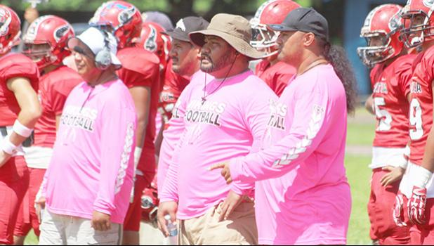 Yes, it's Pinktober every Saturday at the Veterans Memorial Stadium, as coaches and players come out with their pink uniforms in honor of Breast Cancer Awareness Month. Pictured is the Faga'itua Vikings coaching staff with their pinktober uniforms. [photo: TG]