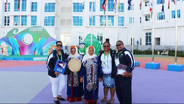 Team AS with Turmenistan dancers after official team welcoming ceremony. (Photo:ASNOC\TCA)