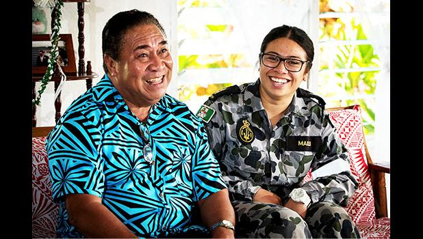 Able Seaman Boatswains Mate, Natasha Mailei visits her grandfather, Asi Mailei, in the village of Tuana'i in Samoa.