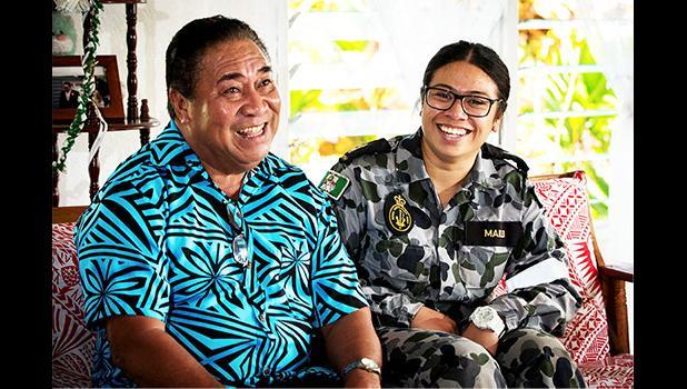 Able Seaman Boatswains Mate, Natasha Mailei visits her grandfather, Asi Mailei, in the village of Tuana'i in Samoa.