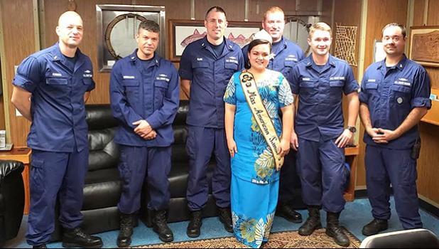 Miss American Samoa and USCG crew