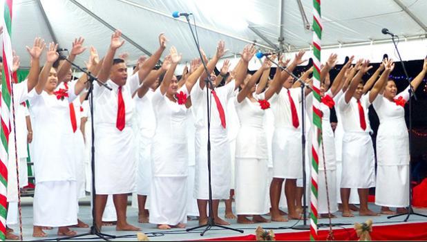 Members of Fagatogo Methodist Youth choir