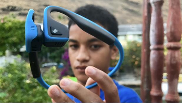 Terry Fred Vine learned while visiting his Coolio family that Aftershokz are so much more important than just wonderful great sounding bluetooth headphones.  [Photo: Barry Markowitz]