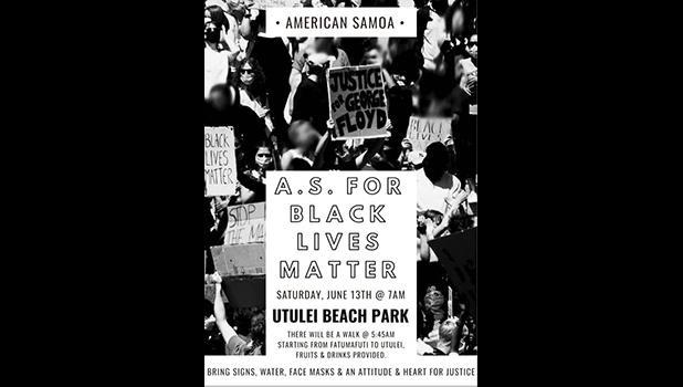 American Samoa for Black Lives Matter poster for Saturday walk