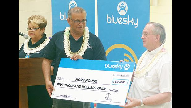 In the presence of the residents that were able to take part including the staff, management and Hope House board members, the Bluesky team presents their donation