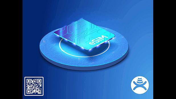 eSIM graphic and Bluesky logo