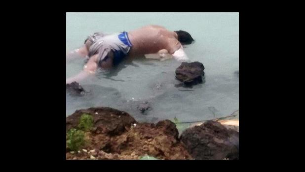 The partially decomposed body of the man who was found floating in Levi, Sale'imoa earlier this week.  (Facebook)