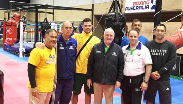 Vice President of the American Samoa Amateur Boxing Association (ASABA), Okesene Malala is now the first American Samoa boxing coach to receive a 1-Star Coach Certificate from the Amateur International Boxing Association (AIBA) on the far left, with the other coaches and trainers during the AIBA training camp in Canberra, Australia. [Courtesy photo]