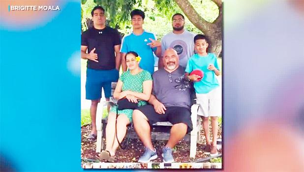 Brigitte Moala and her 85-year-old father, Noaese Taeatafa with family