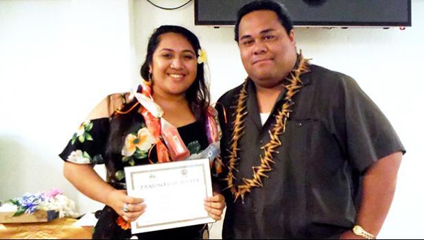 Oneata Rosie Soi received the Samoan Studies Award from Samoan Studies Institute department chairman Evile Feleti.