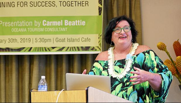 South Pacific travel consultant, Carmel Beattie, during her presentation.
