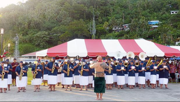 CCCAS Petesa Uta Youth Marching Band with their conductor, Tauese Va'aomala Sunia