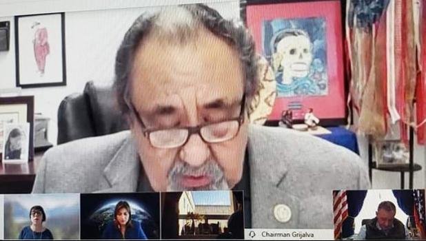 Chairman Grijalva speaks in a remote hearing