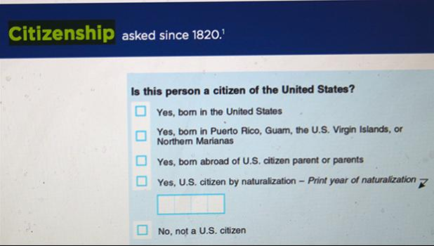 Screenshot of the 2020 Census Questionnaire for the United States shows the citizenship question, with options to choose from but nothing for US Nationals — persons born in American Samoa.  [photo: FS]