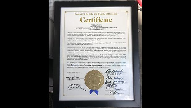 Honolulu City Council and Hawaii Legislature will be presenting this proclamation and commendation at the Summit  Monday morning