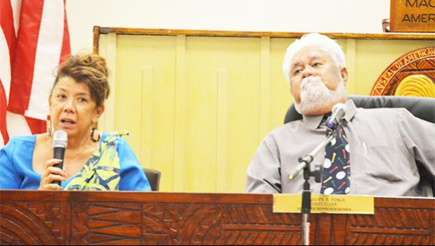 Port Administration director Taimalelagi Dr. Claire Poumele and ASG Property Management Office director Niumata appeared before the House Transportation/ Port Committee on Wednesday to discuss the issue regarding the selling of tugboats and barges to the Samoa government.  [photo: AF]