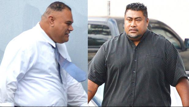 Watch Commander, Mosese Lomu with a big smile on his face (left) and Police Officer, Toloa Koonwaiyou (right)