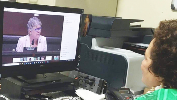 Congresswoman Amata in HVAC hearing remotely with Health Subcommittee Chairwoman Julia Brownley on screen.