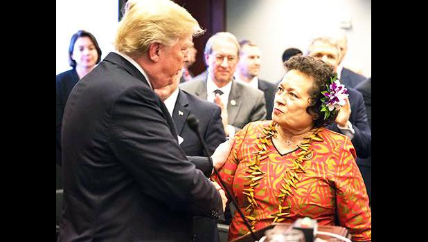 Cong. Aumua Amata with U.S. President Donald Trump