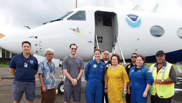 Congresswoman Amata, NOAA's Captain Kristie Twining, Lt. Cmdr. Rebecca Waddington, and friends in Tafuna