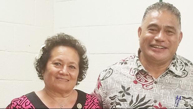 Congresswoman Aumua Amata and local Health Dept. Director Motusa Nua