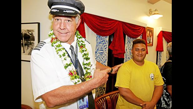 Hawaiian Airlines Captain, Kevin Hardin, was happily surprised to meet Alton Halani Fa'asala, born ironically almost exactly 29 years ago, on a long ago flight Hardin flew to American Samoa.    [Photo by Barry Markowitz, 2/5/18]