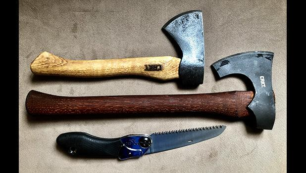 CRKT makes lightweight solid pack axes that, coupled with a handsaw, might just meet your post Cyclone Gita needs.  Top to bottom: Pack Axe, Freyr, and the Silky Pocket Boy.   [Photo by Barry Markowitz]