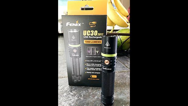 The amazing Fenix UC 30 is easily rechargeable, has heaps of functions, and up to 1,000 lumens...perfect for the American Samoa Territorial Police and Fire Departments/first responders.  [Photo by Barry Markowitz]