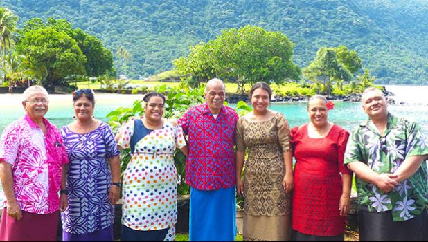 American Samoa Community College students Fuamai Ativalu Tago and Alphina Sifaleula Liusamoa are pictured with their parents, along with Department of Marine and Wildlife Resources director, Va'amua Henry Sesepasara (far left) and Western Pacific Regional Fishery Management Council local official Nate Ilaoa