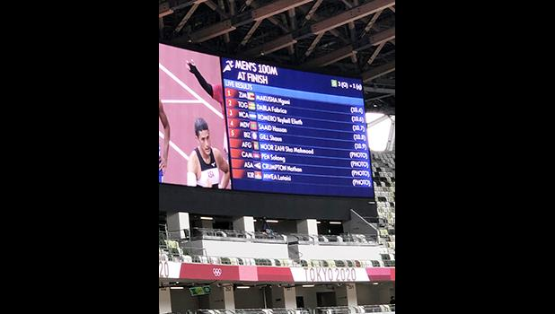 the screen-score board of the results of the men's 100 meter sprint