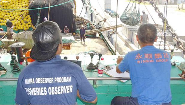 Monitors observing a purse seiner unloading in Majuro