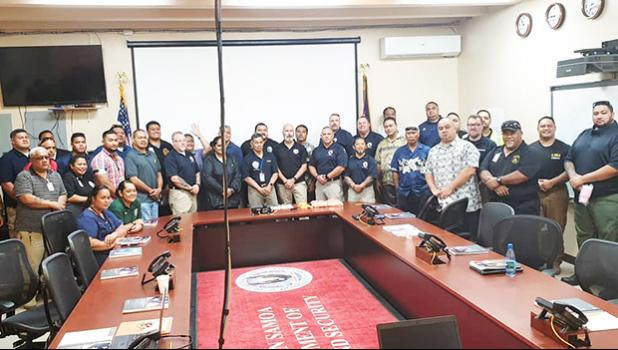 Pictured are DHS director Semo Ve'ave'a (front row, center) and some of the participants of the three-day training course