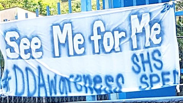 """In support of Developmental Disability Awareness Month 2018, Samoana High School has on display, facing the main road on the fence around the gymnasium, signs that relay strong, powerful  messages. This particular sign reads: """"See Me For Me."""" March is Developmental Disability Awareness Month in the territory and there are a host of activities scheduled for this week, as part of this year's recognition. [photo: Blue Chen-Fruean]"""