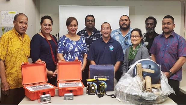 [Left – Right] Soliali'i Falepo (Am. Samoa Government), H. Gingerlei Porter (UH PITD/Pacific RANET Project), Bonnelley Pau'ulu (Am. Samoa Government), Amit Sighn (Fiji Meteorological Service), Ray Tanabe (NOAA/NWS Pacific Region), 'Ofa Fa'anunu (Tonga Meteorological Service), Christina Higa (UH TASI), Jimmy Gomoga (Papua New Guinea Meteorological Service) and Terry Atalifo (Fiji Meteorological Service).