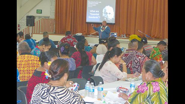 """This Samoa News photo taken yesterday shows public educators during the second day of the two-day """"Professional Learning Community at Work"""""""