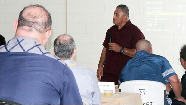 Health director Motusa Tuileama Nua speaking at cabinet meeting