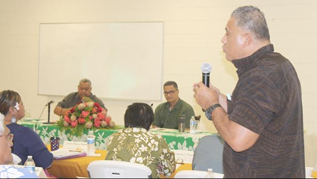 Health director Motusa Tuileama Nua speaking at cabinet meeting