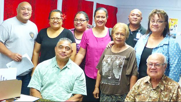 Pictured are DOH director Motusa Tuileama Nua and Dr. Tufa (sitting) and active members of the campaign.