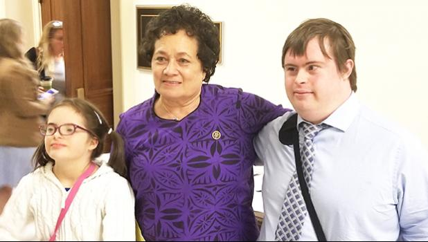 Congresswoman Amata with representatives of the National Down's Syndrome Society visiting Congress this week.  [photo: courtesy]