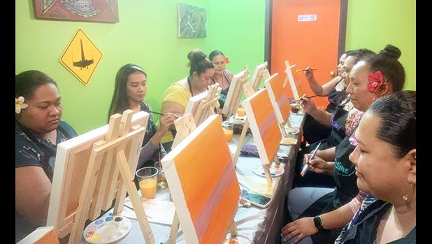 A group of friends each painting a picture