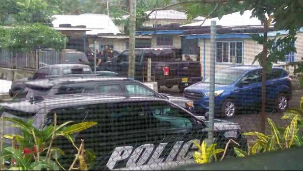 police cars outside home in Petesa during drug raid