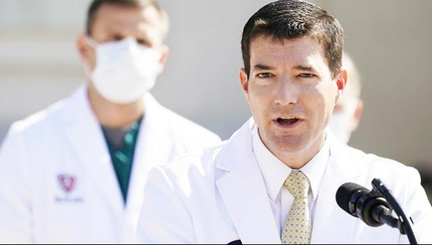 Dr. Sean Conley, physician to President Donald Trump, briefs reporters