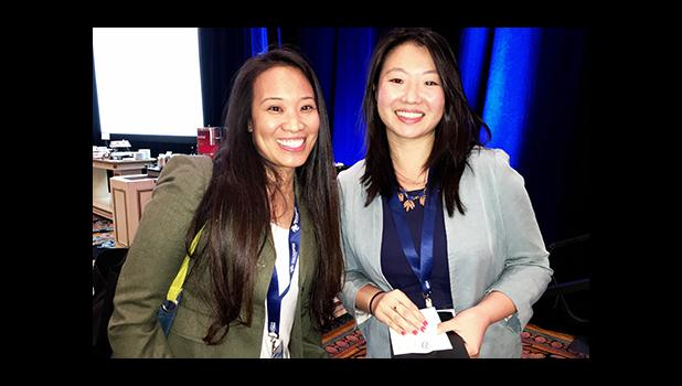 "Jan Pascual, an IT professional and aspiring drone professional, enjoyed a private chat with one of InterDrone 2016 ""Women in Drones"" luncheon speakers, Natalie Cheung, UAV Product Manager, Perceptual Computing Group Intel Corporation at the events conclusion.  [Photo: Barry Markowitz]"