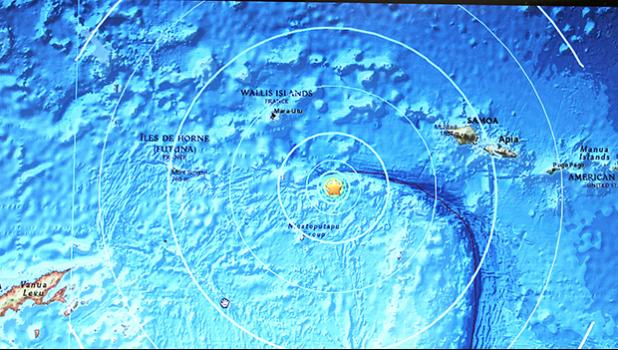 The star, on this screen shot from the US Geological Survey (USGS) website, shows the center of Monday's 6.0 magnitude earthquake which, according to the USGS, occurred just before 8a.m. and was centered 225 miles west-southwest of Apia, Samoa; 289 miles west of Tafuna; and 290 miles west of Pago Pago, American Samoa.