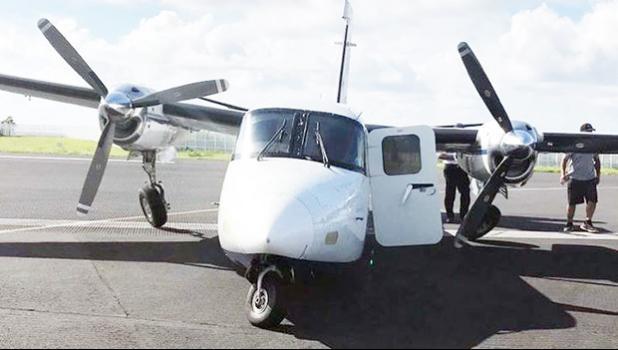 The damaged Twin Commando aircraft. [Photo: supplied / Danika Adam via RNZI]