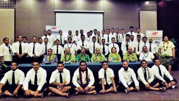 59 Samoan sailors with acting PM Papalii Niko Lee Hang [Photo: RNZI/Autagavaia Tipi Autagavaia]